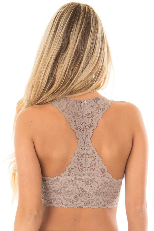 Cocoa Racerback Floral Lace Bralette back close up