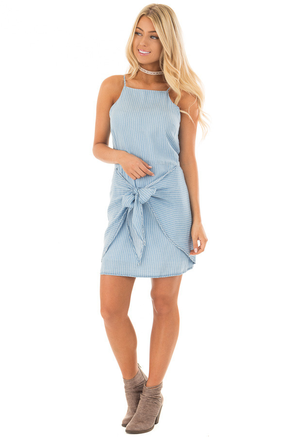 Light Blue Striped Tank Dress with Waist Tie Detail front full body