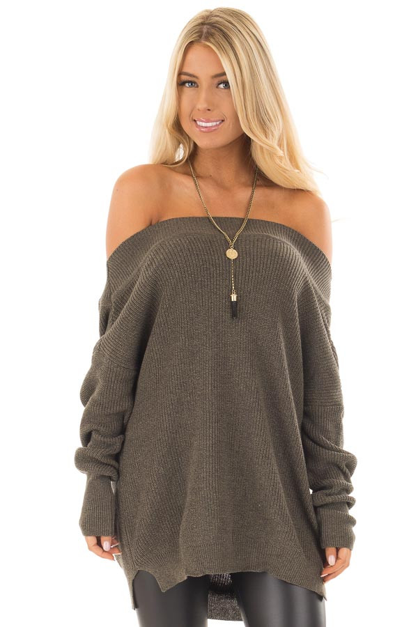 Olive Off the Shoulder Long Sleeve Sweater - Lime Lush Boutique