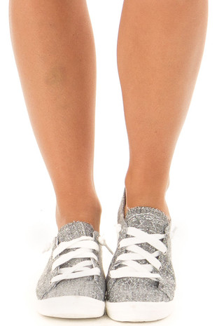 Charcoal and Silver Glitter Print Lace Up Sneakers front view