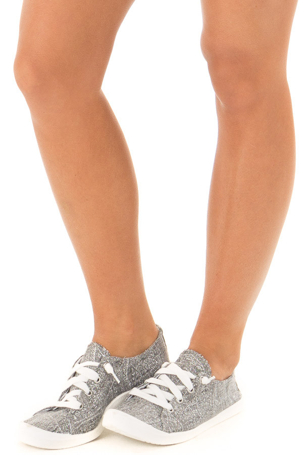 Charcoal and Silver Glitter Print Lace Up Sneakers front side view