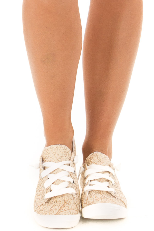 Cream and Gold Glitter Print Lace Up Sneakers front view