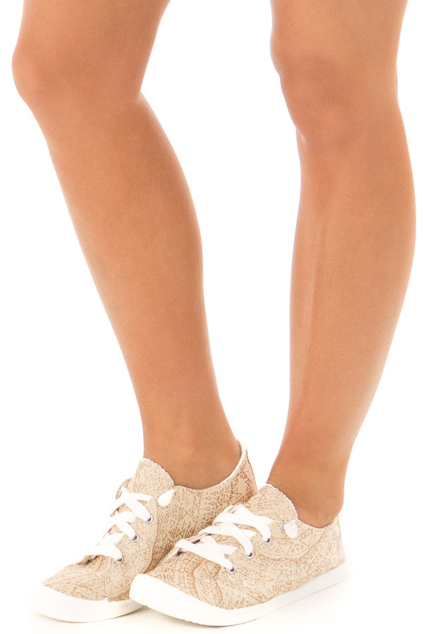 Cream and Gold Glitter Print Lace Up Sneakers front side
