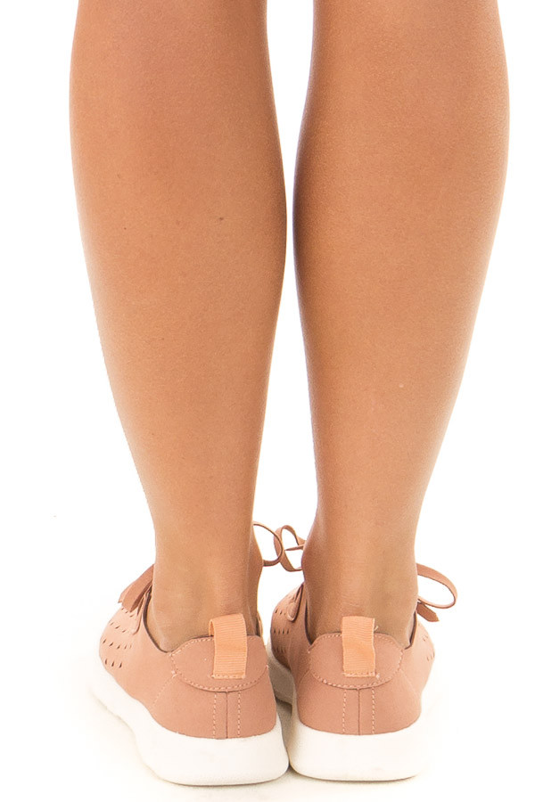 Dusty Clay Faux Suede Triangle Cut Out Slip On Sneakers back view