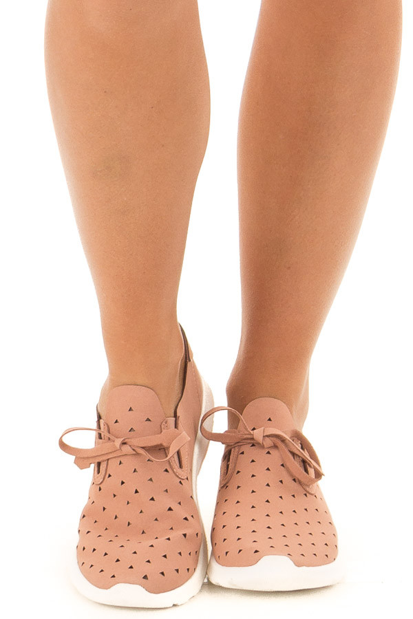 Dusty Clay Faux Suede Triangle Cut Out Slip On Sneakers front view