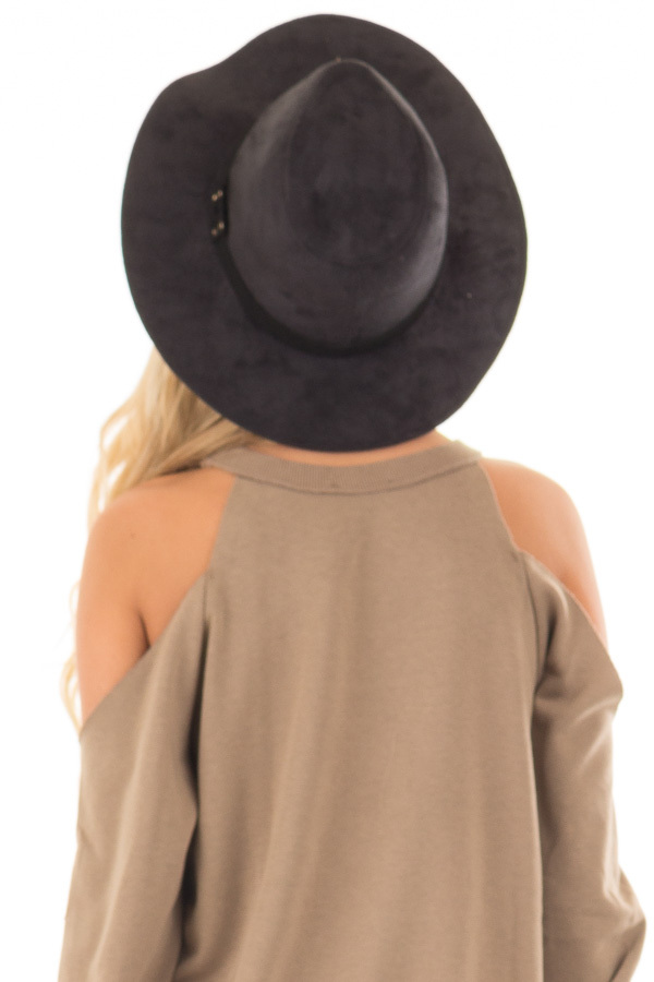 Black Faux Suede Hat with Criss Cross Trim detail back view