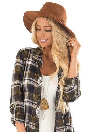 Western Brown Faux Suede Hat with Criss Cross Trim detail front view