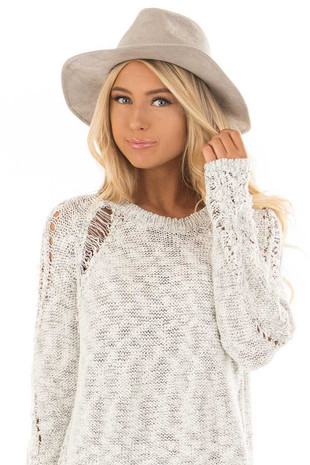 Light Grey Faux Suede Hat with Criss Cross Trim detail front view