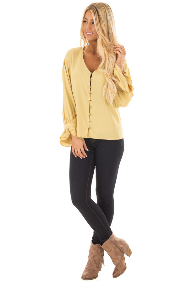 Golden Mist Button Up Blouse with Ruffle Cuffs front full body