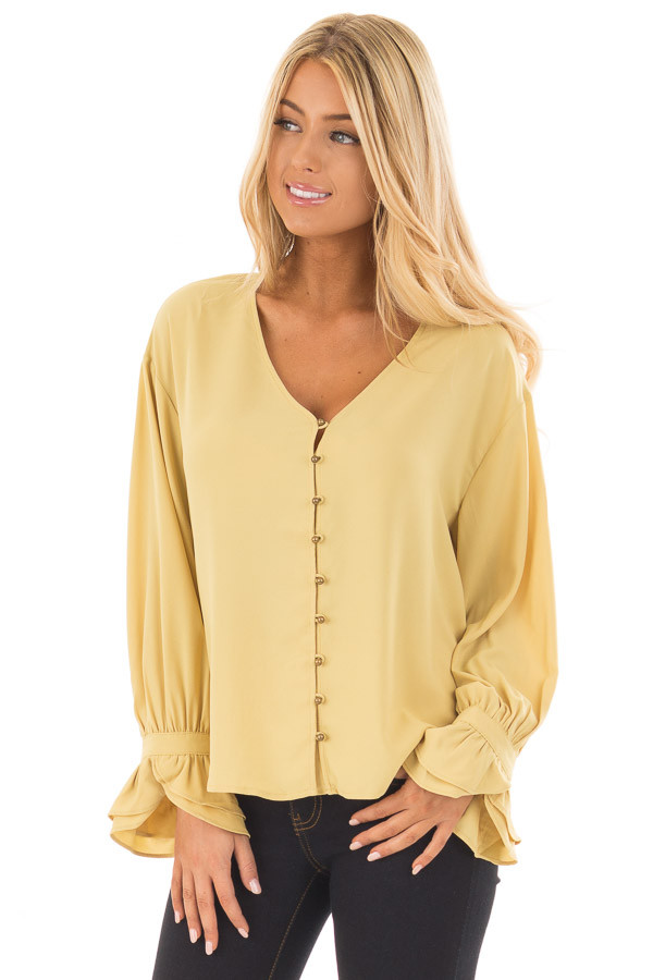 Golden Mist Button Up Blouse with Ruffle Cuffs front close up