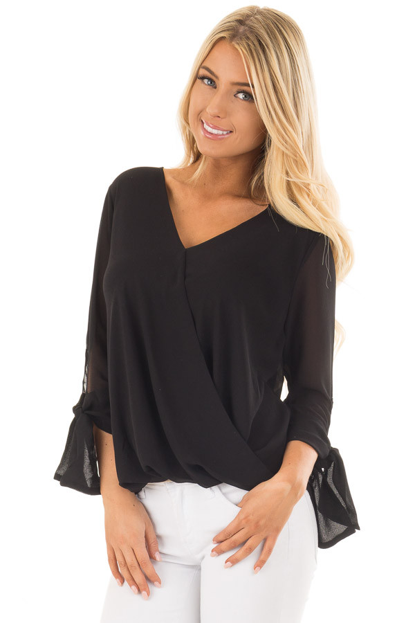Black Surplice Blouse with Tie Sleeve Details front close up