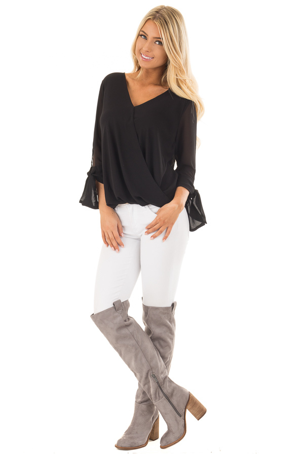 Black Surplice Blouse with Tie Sleeve Details front full body