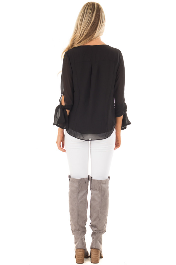 Black Surplice Blouse with Tie Sleeve Details back full body