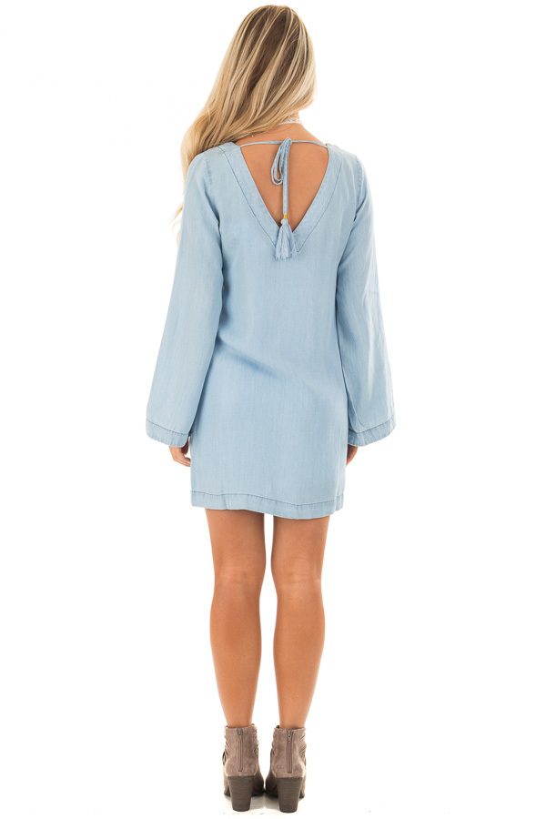 Light Chambray Dress with Open Back and Tassel Tie back full body