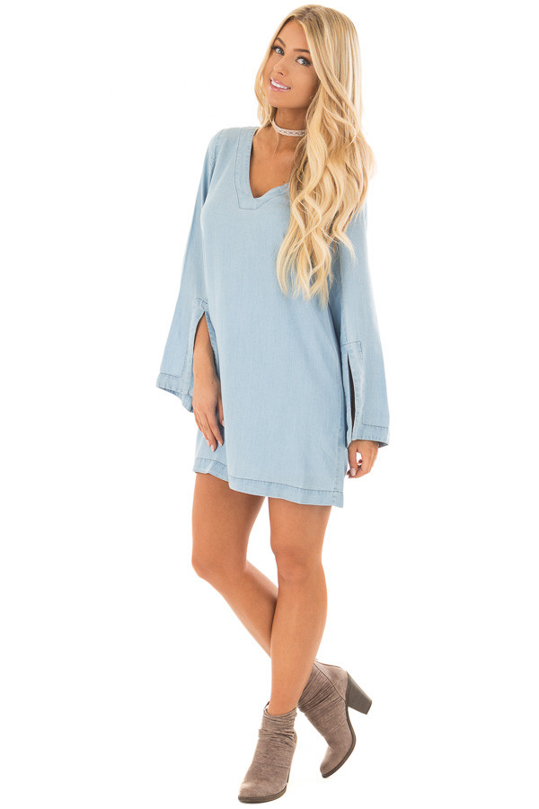 Light Chambray Dress with Open Back and Tassel Tie front full body