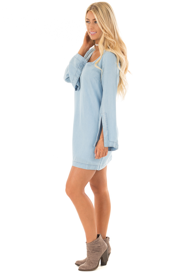 Light Chambray Dress with Open Back and Tassel Tie side full body