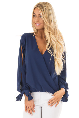 Navy Surplice Blouse with Tie Sleeve Details front close up
