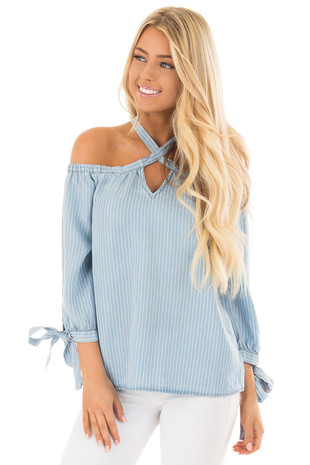 Light Chambray and White Striped Soft Cold Shoulder Top front close up