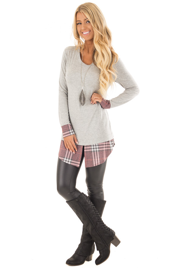 Heather Grey Top with Dusty Burgundy Plaid Contrast front full body