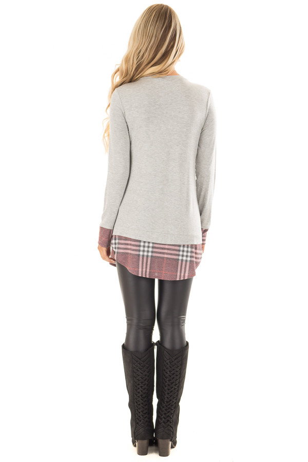 Heather Grey Top with Dusty Burgundy Plaid Contrast back full body