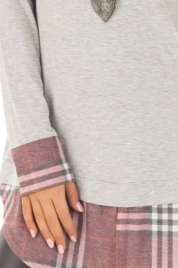 Heather Grey Top with Dusty Burgundy Plaid Contrast detail