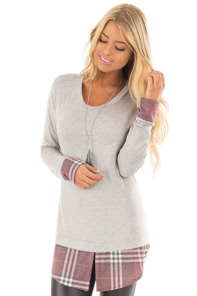 Heather Grey Top with Dusty Burgundy Plaid Contrast front close up