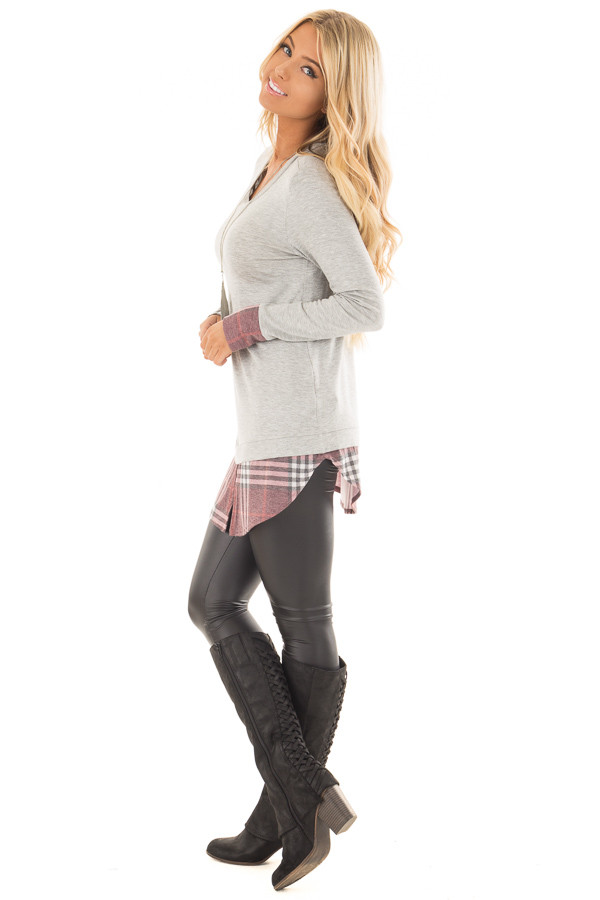 Heather Grey Top with Dusty Burgundy Plaid Contrast side full body