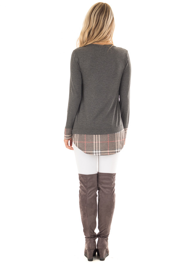 Charcoal Top with Plaid Hem and Cuff Contrast back full body