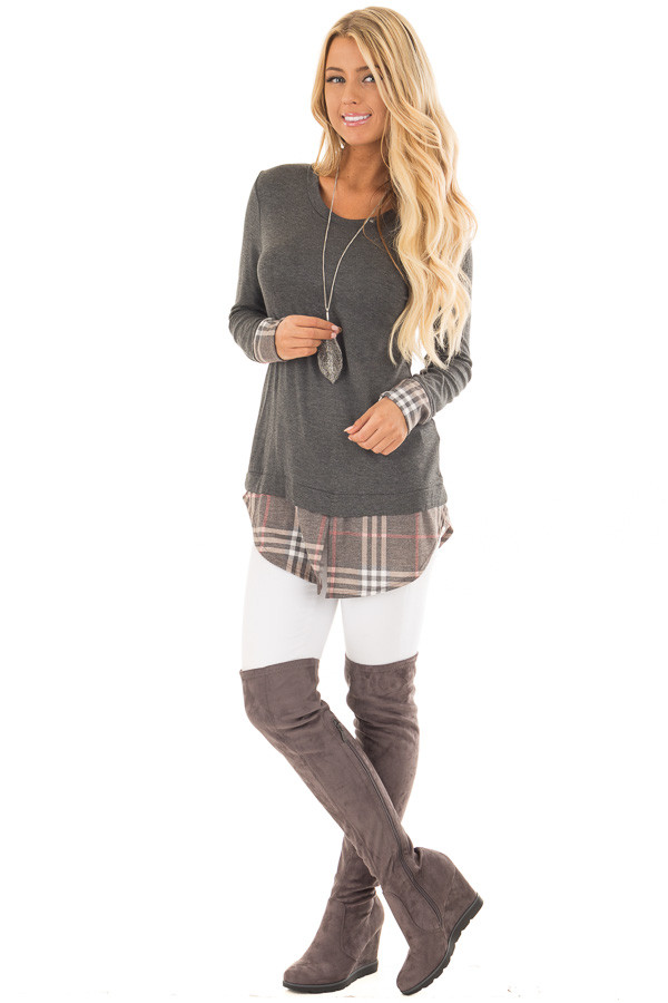 Charcoal Top with Plaid Hem and Cuff Contrast front full body