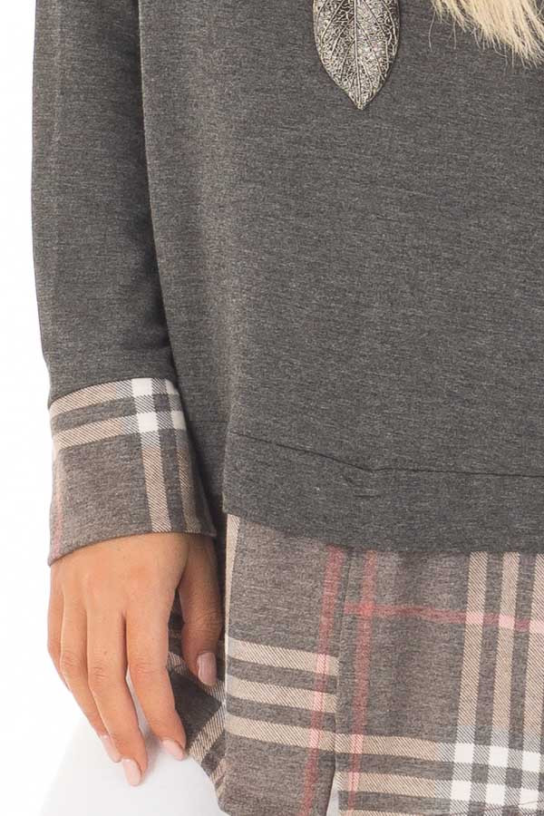 Charcoal Top with Plaid Hem and Cuff Contrast detail