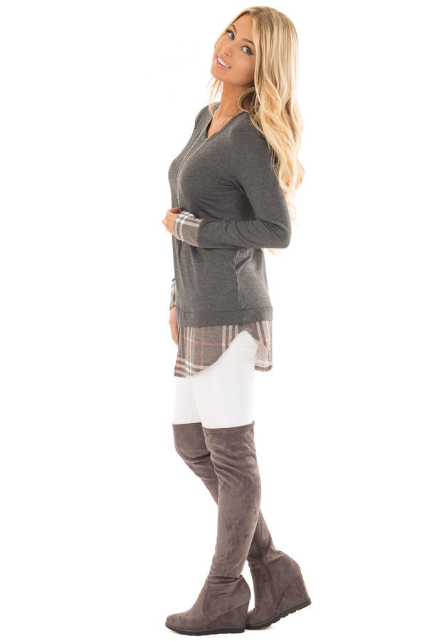 Charcoal Top with Plaid Hem and Cuff Contrast side full body