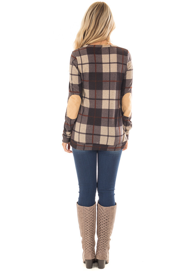 Charcoal Plaid Print Top with Faux Suede Elbow Patches back full body