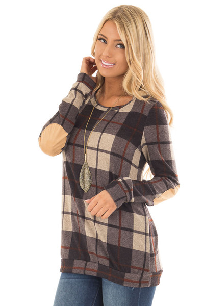 Charcoal Plaid Print Top with Faux Suede Elbow Patches front close up
