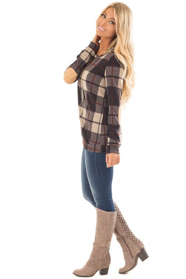 Charcoal Plaid Print Top with Faux Suede Elbow Patches side full body