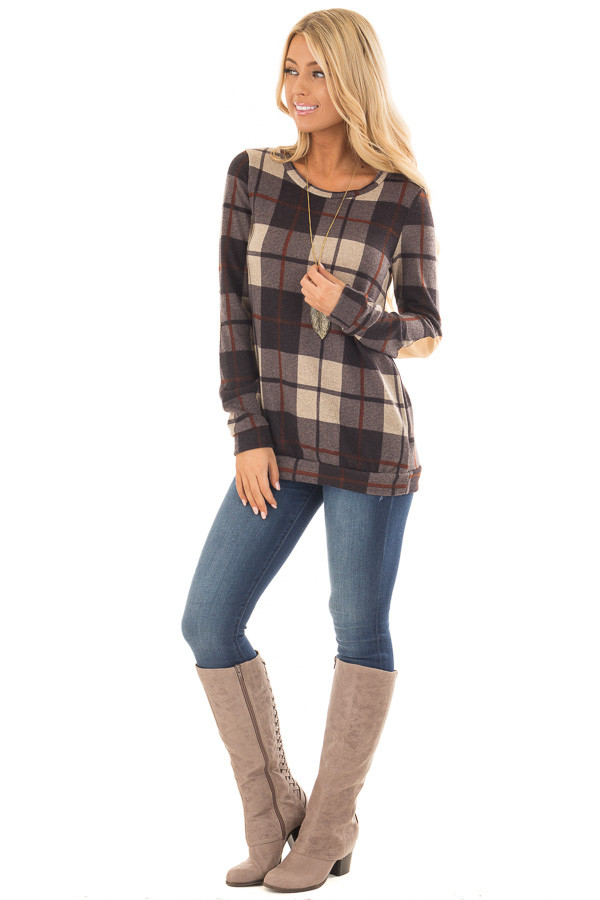 Charcoal Plaid Print Top with Faux Suede Elbow Patches front full body