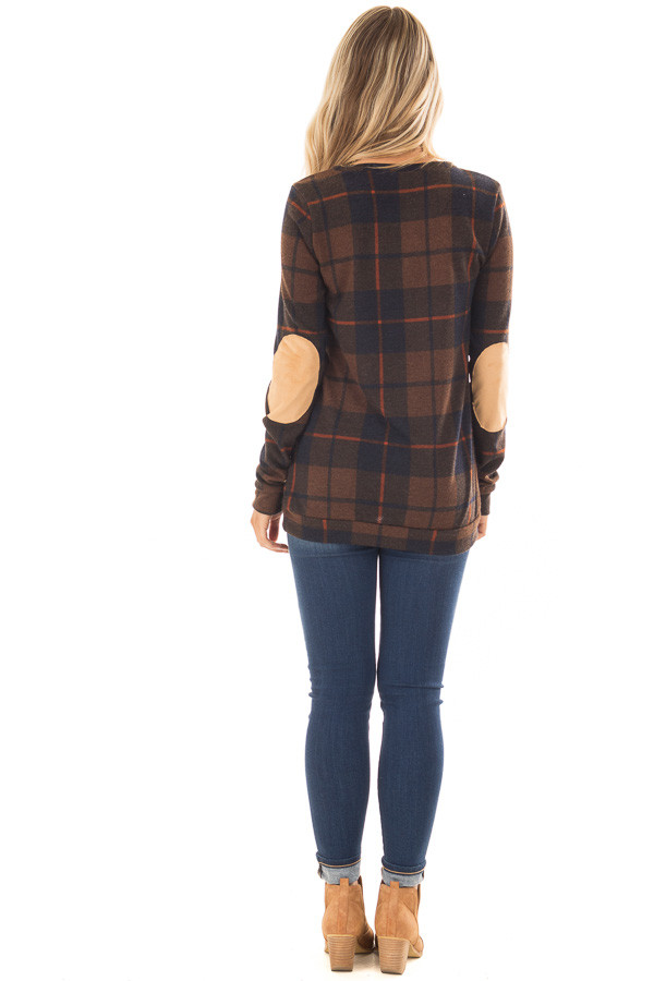 Chocolate Plaid Print Top with Faux Suede Elbow Patches back full body
