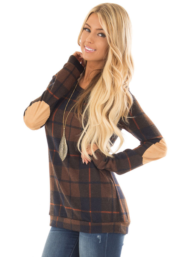 Chocolate Plaid Print Top with Faux Suede Elbow Patches front close up