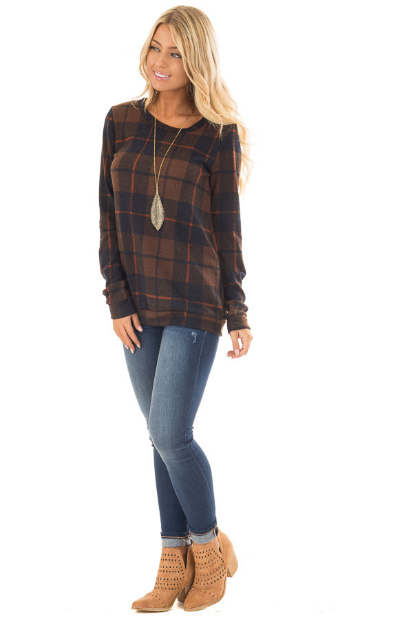 Chocolate Plaid Print Top with Faux Suede Elbow Patches front full body