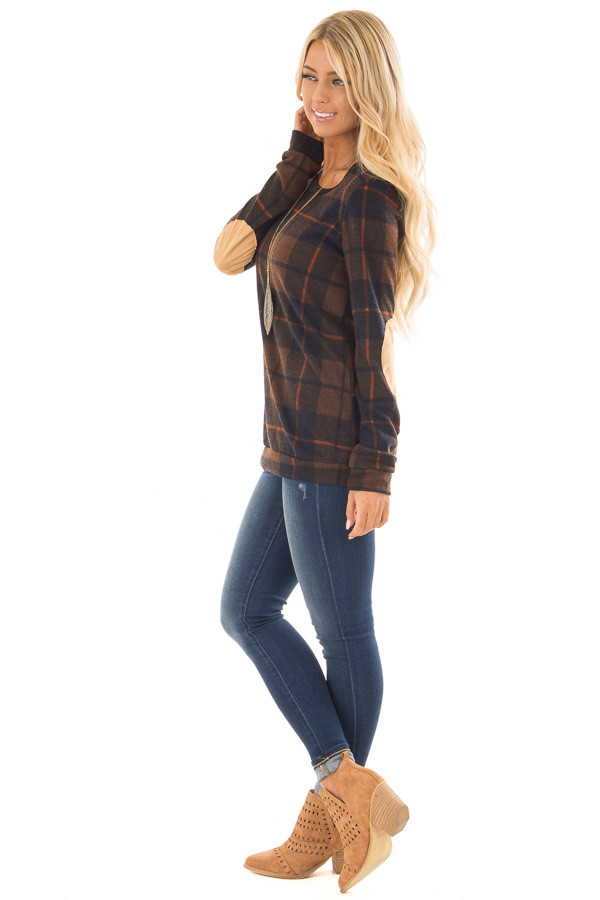 Chocolate Plaid Print Top with Faux Suede Elbow Patches side full body