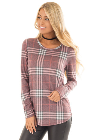 Dusty Burgundy Plaid Jersey Knit Long Sleeve Top front close up