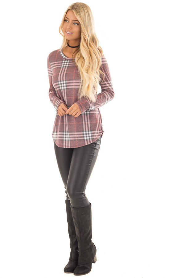 Dusty Burgundy Plaid Jersey Knit Long Sleeve Top front full body