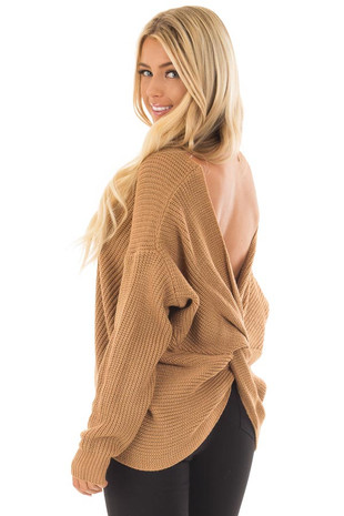Toffee Long Sleeve Sweater with Twist Back Detail back side close up