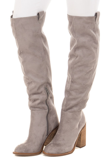 Grey Faux Suede Tall High Heeled Boot front side view