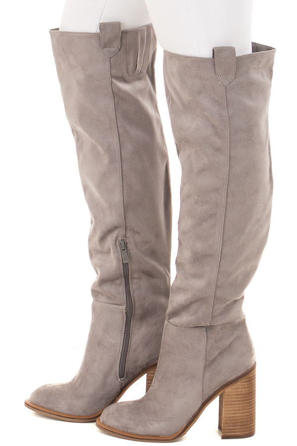 Grey Faux Suede Tall High Heeled Boot side view