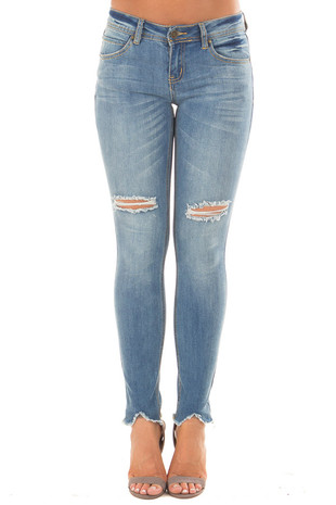 Medium Denim Skinny Crop Distressed Jeans front view