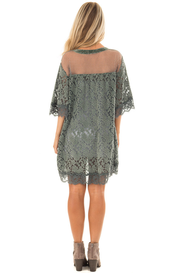 Deep Sage Lace Kimono with Sheer Yoke back full body