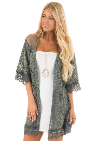 Deep Sage Lace Kimono with Sheer Yoke front close up
