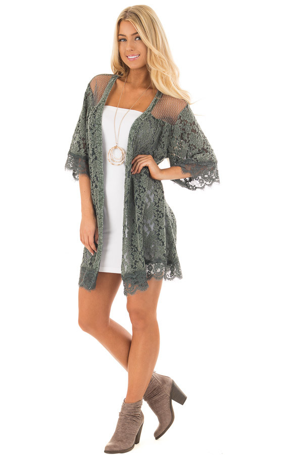 Deep Sage Lace Kimono with Sheer Yoke front full body