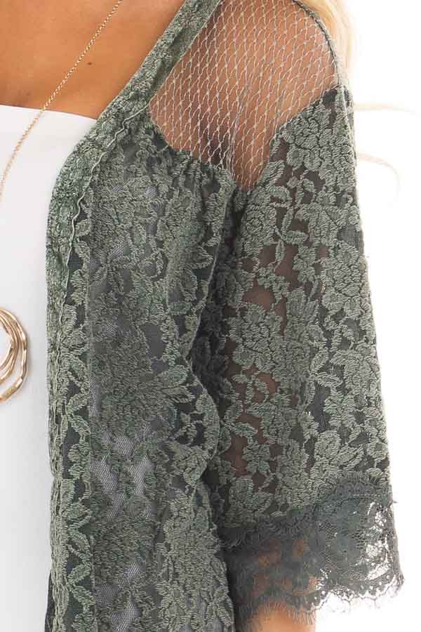 Deep Sage Lace Kimono with Sheer Yoke detail