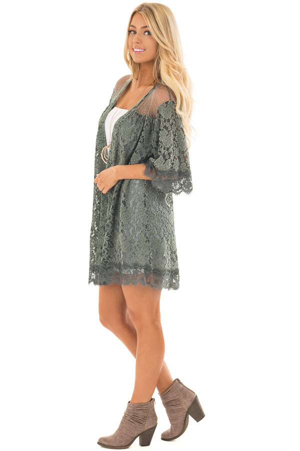 Deep Sage Lace Kimono with Sheer Yoke side full body